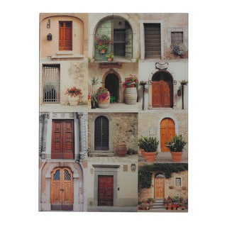 Door Collage II' Photography Printed On Glass Wall Art