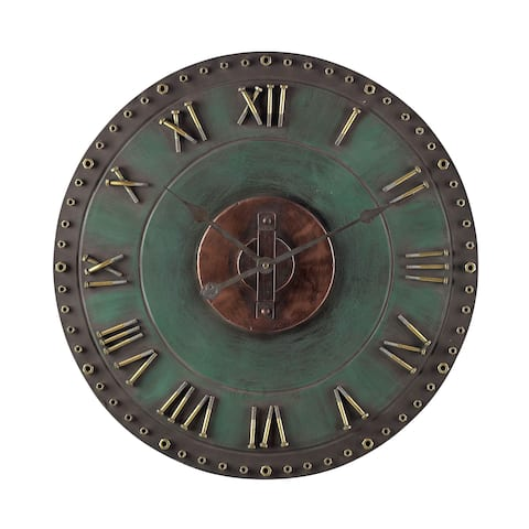 Sterling Metal Roman Numeral Outdoor Wall Clock