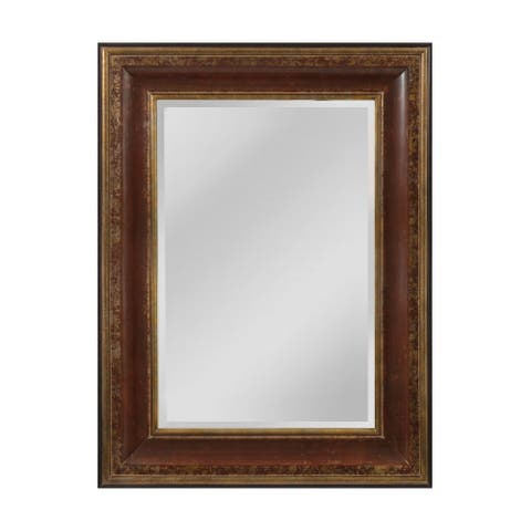 "O'Reiley Mirror - aged walnut and roman gold - 48""h x 3""d x 36""w"