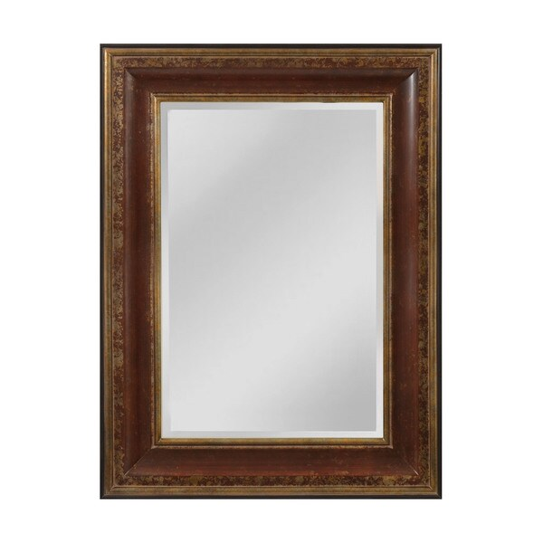 "O'Reiley Mirror - aged walnut and roman gold - 48""h x 3""d x 36""w"