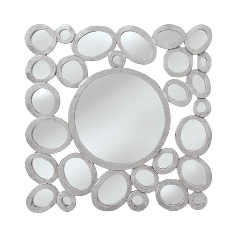 """Orveta Wall Mirror - silver with a trace of black for accent - 32""""h x 1""""d x 32""""w"""