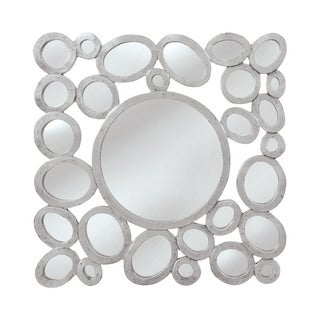 "Orveta Wall Mirror - silver with a trace of black for accent - 32""h x 1""d x 32""w"
