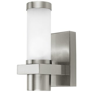 Konya 1 40-watt Outdoor Wall Light with Matte Nickel Finish and Opal Frosted Glass