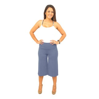 Women's Foldover Waist Short-Length Solid Gaucho Pants