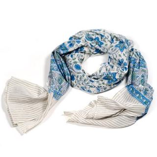 Blue Terrace Block Print Scarf (India)