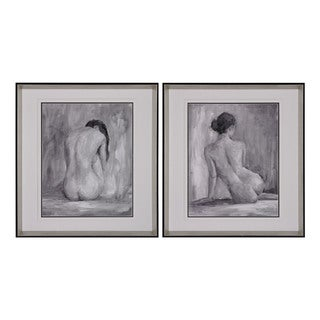 Figure In Black And White I And Ii - Fine Art Print Under Glass Wall Art