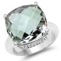 Malaika 9.90 Carat Genuine Green Amethyst & White Topaz .925 Sterling Silver Ring