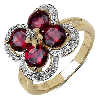 Olivia Leone 14K Yellow Gold Plated 1.88 Carat Genuine Rhodolite & White Topaz .925 Sterling Silver Ring