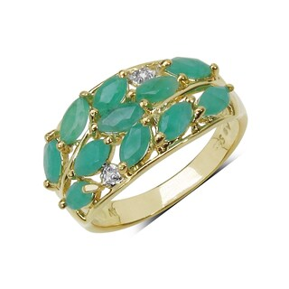 Malaika 14K Yellow Gold Plated 1.56 Carat Genuine Emerald & White Topaz .925 Sterling Silver Ring