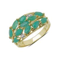 Malaika 1.56 Carat Genuine Emerald & White Topaz .925 Sterling Silver Ring