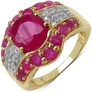 Malaika 14K Yellow Gold Plated 11.53 Carat Genuine Ruby & White Topaz .925 Sterling Silver Ring