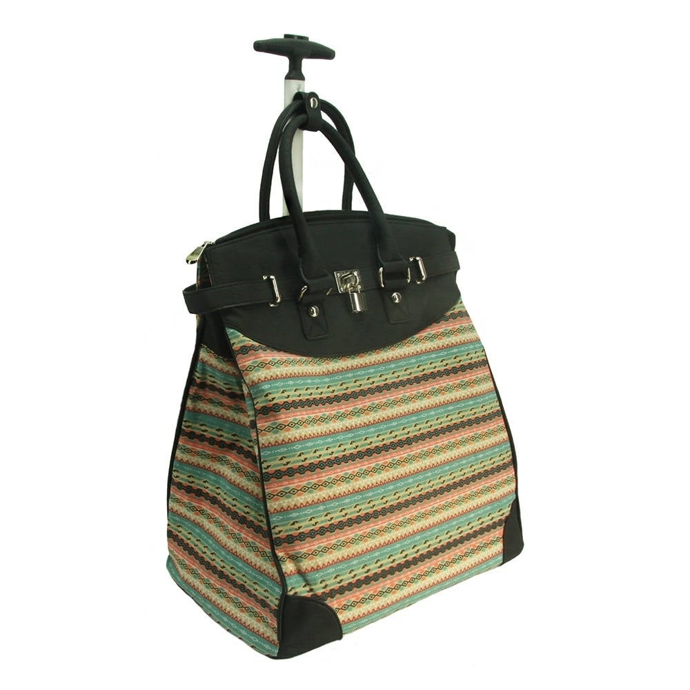 Rollies Aztec Rolling 14-inch Laptop Black Travel Tote Ba...