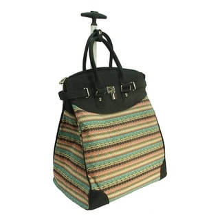 Rollies Aztec Rolling 14-inch Laptop Black Travel Tote Bag