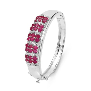 Malaika 6.65 Carat Genuine Ruby & White Topaz .925 Sterling Silver Bangle