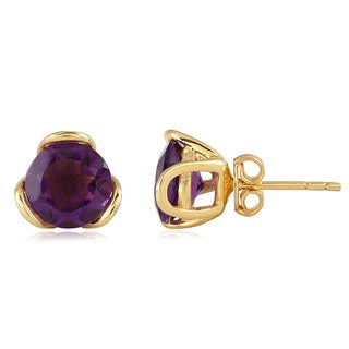Yellow Gold Plated Sterling Silver Amethyst Stud Earrings