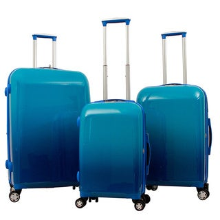 Gabbiano Industrial Chic Gradient Blue 3-piece Expandable Hardside Spinner Luggage Set