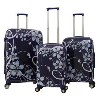 Gabbiano Industrial Chic Navy Floral 3-piece Expandable Hardside Spinner Luggage Set
