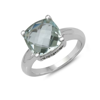 Malaika 3.43 Carat Genuine Green Amethyst & White Topaz .925 Sterling Silver Ring
