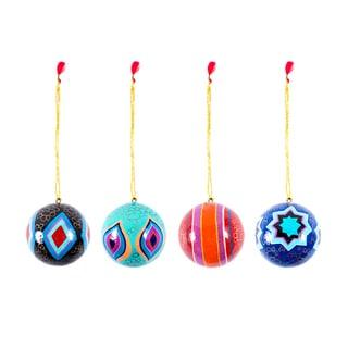 Set of 4 Kashmiri Handmade Ornaments (India)