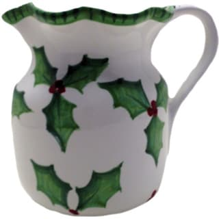 Holly Jolly Ceramic Christmas Pitcher