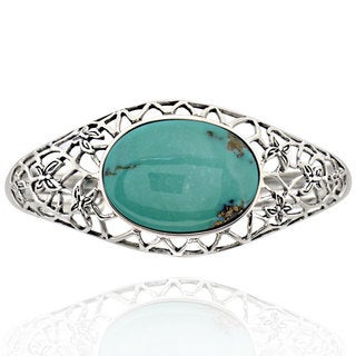 Sterling Silver Oval Turquoise Filigree 7.5-inch Cuff Bracelet (China)