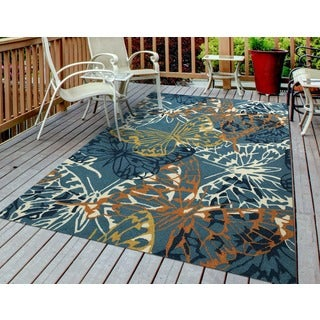 San Mateo Blue Butterfly Multi-purpose Indoor/ Outdoor Area Rug (7'6 x 9'6)