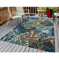 "San Mateo Blue Butterfly Multi-purpose Indoor/ Outdoor Area Rug - 7'6"" x 9'6"""