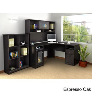 Cabot L Shaped Desk with Hutch and 6 Cube Bookcase (3 options available)
