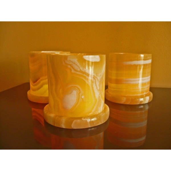 Handmade Set of 3 Alabaster Hurricane Votives (Egypt)
