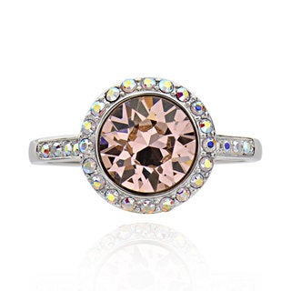 Sterling Silver Round Rose Genuine Austrian Crystal Elements Ring (China)