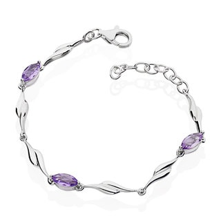 Women's Sterling Silver Brazilian Amethyst 6-inch Bracelet with 1-inch Extension (China)