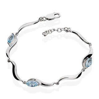 Sterling Silver Marquise-cut Blue Topaz Bracelet (China)