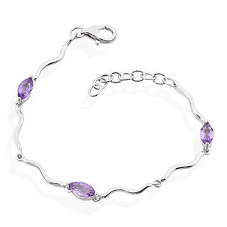 Sterling Silver Brazilian Amethyst 6-inch Bracelet with 1-inch Extension
