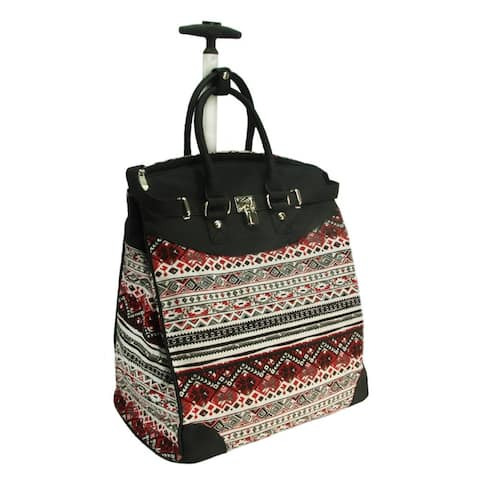 Rollies Aztec Print Black 14-inch Laptop Rolling Travel Tote Bag
