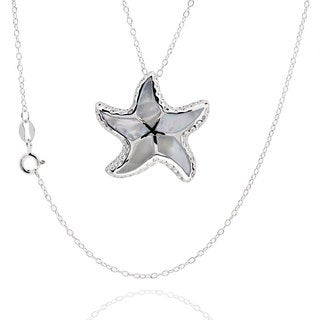Sterling Silver Mother of Pearl Starfish Necklace with 18-inch Chain