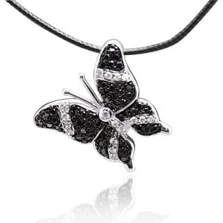 Sterling Silver Cubic Zirconia Butterfly Necklace with 28-inch Leather Cord