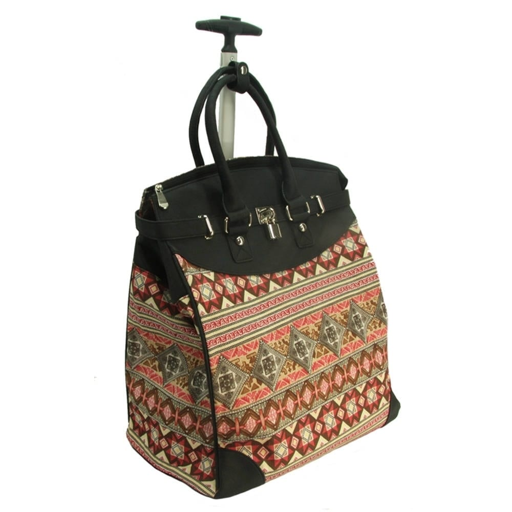 Rollies Aztec Rolling 14-inch Laptop Print Travel Tote Ba...