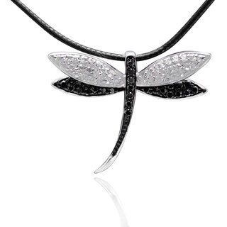 Sterling Silver Cubic Zirconia Dragonfly Necklace with 28-inch Leather Cord