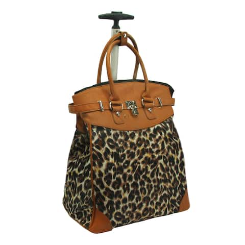 Rollies Classic Wild Leopard Rolling 14-inch Travel Tote Bag