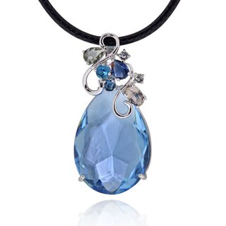 Sterling Silver Multi Austrian Crystal Necklace with 20-inch Leather Cord and 3-inch Extension