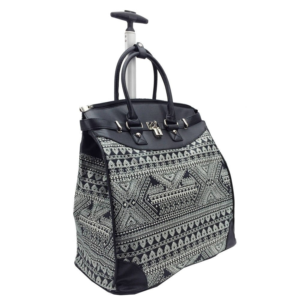 Rollies Aztec 14-inch Laptop Rolling Travel Tote Bag (Bla...
