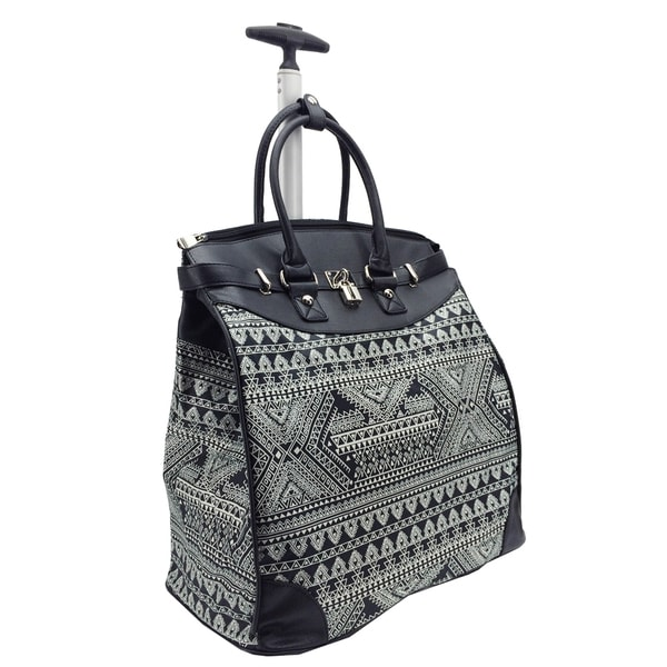 Rollies Aztec 14-inch Laptop Rolling Travel Tote Bag - Free ...