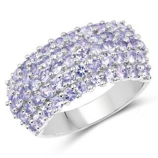 Malaika 2.07 Carat Genuine Tanzanite .925 Sterling Silver Ring