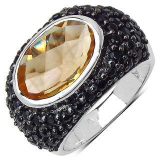 Malaika 7.07 Carat Genuine Citrine & Black Spinel .925 Sterling Silver Ring