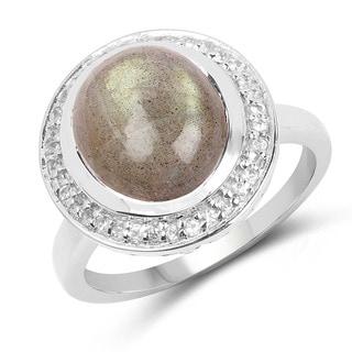 Olivia Leone 5.43 Carat Genuine Labradorite & White Topaz .925 Sterling Silver Ring