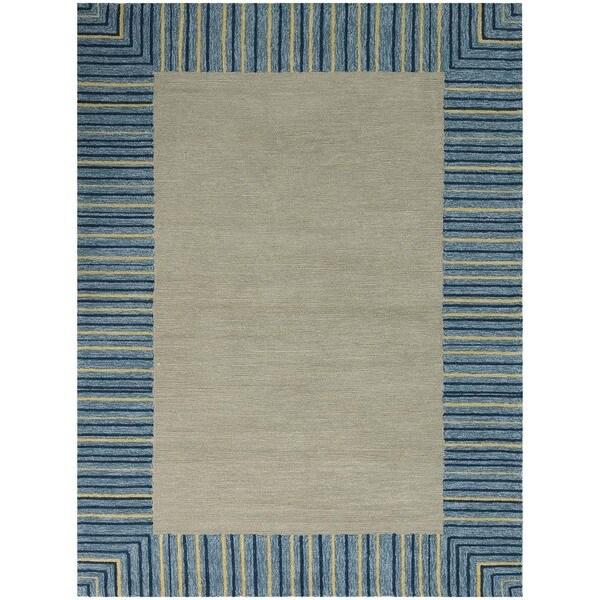 San Mateo Blue Bordered Multi-purpose Rug (8' x 11') - 8' x 11'