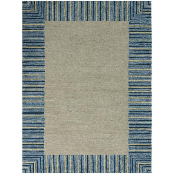 San Mateo Blue Stripe Multi-purpose Rug (7'6 x 9'6)