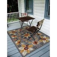San Mateo Grey Floral Multi-purpose Rug (8' x 11') - 8' x 11'