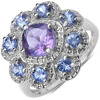 Malaika 1.50 Carat Genuine Amethyst & Tanzanite .925 Sterling Silver Ring