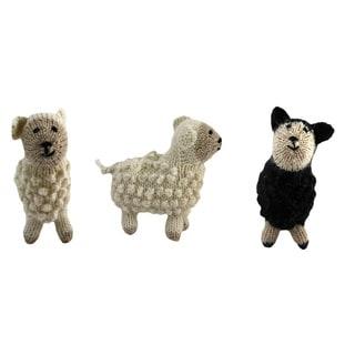 Set of 3 Alpaca Wool Sheep Ornaments (Peru)